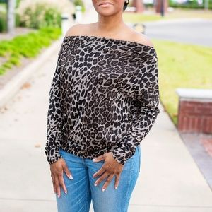 Animal Print Off the Shoulder Tunic